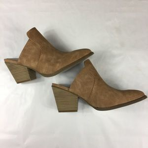 Sugar suede like tan heeled mule booties size 8.5
